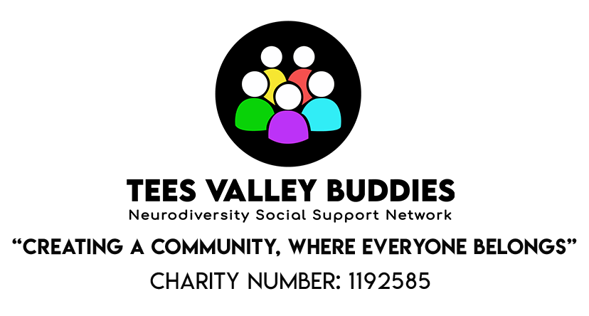 tees valley buddies logo black circle stickmen in blue yellow red green purple with tagline creating a community where everyone belongs and charity number 1192585